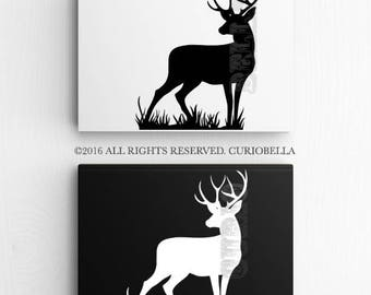 Stag Vinyl Decal, Deer Vinyl Decal, Stag Sticker, Deer Sticker, Deer Decal, Deer Art, Car Decal, Car Sticker, Laptop Decal, Wall Art