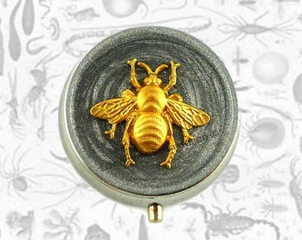Queen Bee Pill Box Inlaid in Hand Painted Enamel Art Nouveau Insect  Round Metal Pill Case Custom Colors and Personalized Options