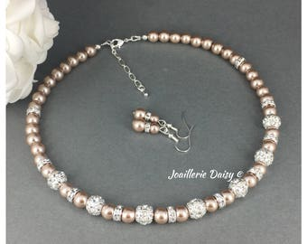 Bridesmaid Gift Taupe Wedding Pearl Jewelry Bridesmaid Necklace Taupe Necklace for Bridesmaid Jewelry Gift for Women Wedding Maid of Honor