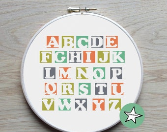 modern cross stitch pattern, alphabet, blocks, ABC,  PDF pattern ** instant download**