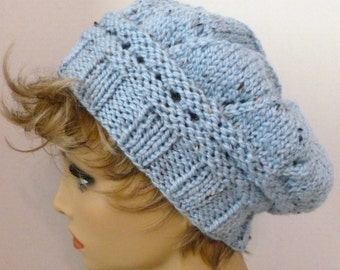 Mans or Womans Hand Knit Star Pattern Slouch Hat Beret Color Baby Blue Heather (H-110)