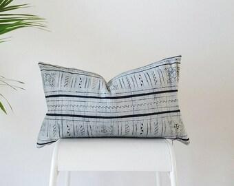 Authentic Vintage Hmong Indigo Batik Hemp Pillow, White & Indigo Blue