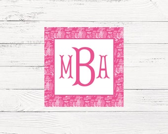Pink Chiniosere Monogrammed Enclosure Cards With Envelopes
