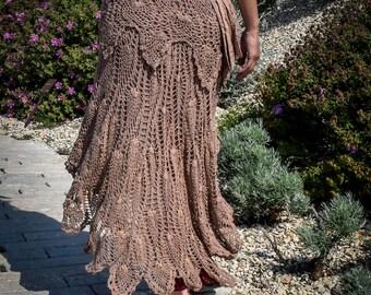 Old rose Crochet psy festival skirt, boho gypsy skirt, Wrap Around skirt, skirt with pocket and belt, psychedelic festival skirt