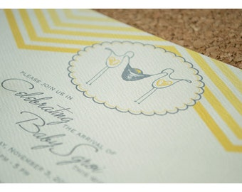 Chevron Stripe Baby Shower Party Invitations with Storks