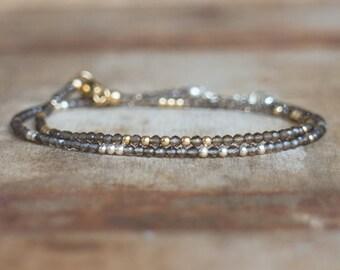 Skinny Smoky Quartz Bracelet in Gold or Silver, Delicate Smokey Quartz Bracelet, Stacking Bracelets, Beaded Gemstone Bracelet