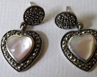 Pink Mother-of-Pearl Heart Earrings with Marcasite