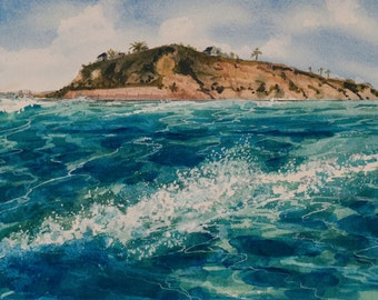 Adrift Watercolor Print, Cardiff-by-the-Sea, Seascape, Southern California, Waves, Shore