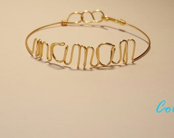 "Bracelet message ""MOM"" collection: wire words"