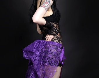 Short Purple Lace Mid Length Bustle Wrap lingerie boudoir festival rave MTCoffinz - All Adult Sizes