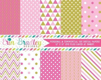 80% OFF SALE Pink and Gold Girls Digital Paper Pack with Triangle Herringbone Chevron Striped & Polka Dotted Digital Background Patterns
