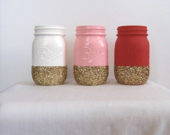 Pale Pink, Red, and White Jars with Gold Glitter