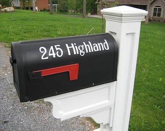 One Mailbox house number Vinyl Decal street Address sticker One Exterior Outdoor street address