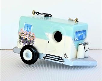 Retro Aqua and White Pull Trailer Birdhouse ,  Handcrafted , Hand Painted , lots of Flowers , Easy Clean Out , Environmentally Friendly