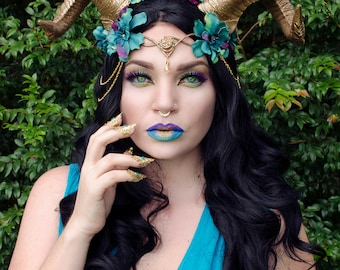 Gold and teal horn headdress *HORNS ONLY*