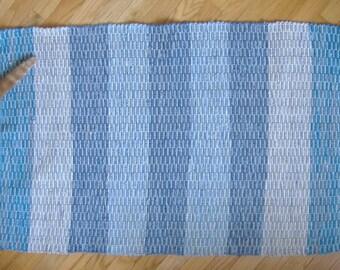 Rag Rug, Aqua/Denim stripes, SK074