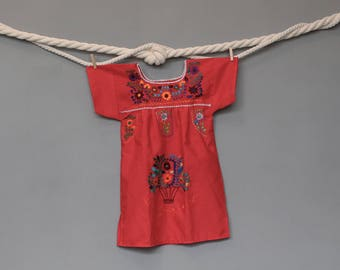 Embroidered Mexican Girl Dress - Kids - Baby - Vintage - Red - Months - 1 year