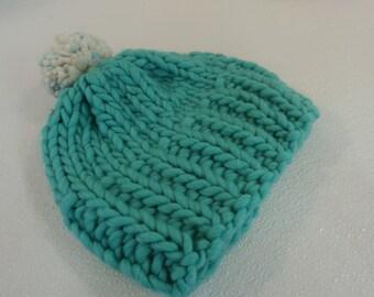 Handcrafted Knitted Hat Beanie Aqua Pom Pom Slouchy 100% Merino Wool Female