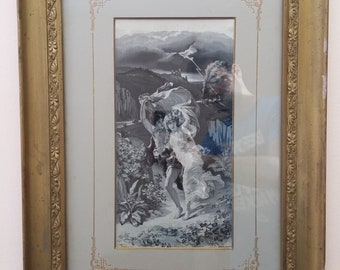 "Antique De Apres P. A. Cot silk tapestry circa 1900 ""The Storm"""