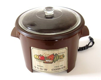 Regal PolyPot Slow Cooker #7533 Poly Pot Crockpot Brown Made in USA