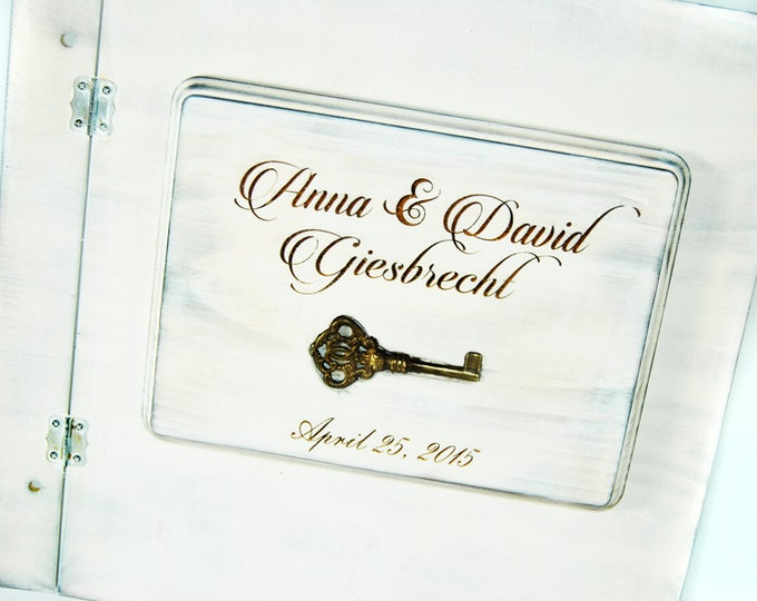 Shabby Chic Rustic Wedding Album or Guest Book with Personalized burned engraving and inlay skeleton key