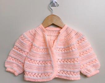 Orange Wool Hand Knit Baby Cardigan