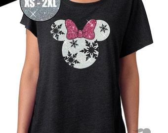 GLITTER Disney Christmas Holiday Snowflake Minnie Tri Blend Dolman Tee (6760 Vintage Black) - White / Pink Glitter
