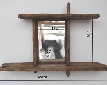 Driftwood/rustic shelves with mirror and T light holders in locally sourced,recycled pine in medium dark oak wax finish.