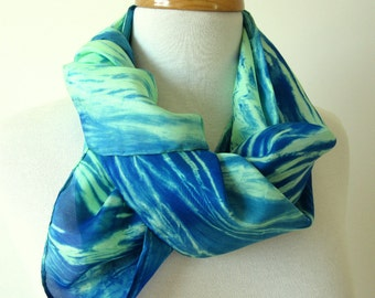 Blue and Green Silk Scarf - Hand Painted Silk Scarves - Gift Idea for Her