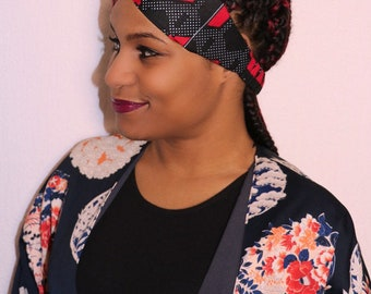 Wax red turban headband