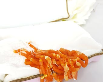 Glitter French flat 4 mm Pearly Tangerine color