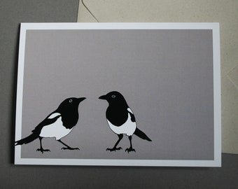 Pica pica - magpie illustration greetings card