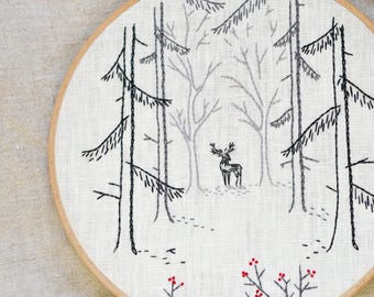 Woodland, Embroidery pattern pdf, Deer, Hand embroidery, Forest, hand embroidery patterns by NaiveNeedle