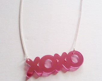 XOXO Kiss Hug Pink Mirror Necklace