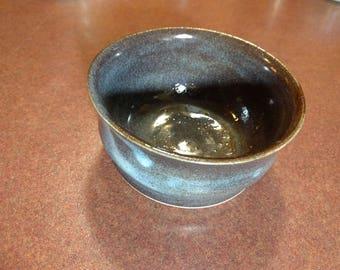 Blue brown pottery bowl P.E.I. pottery