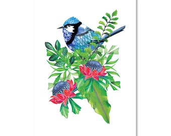 Fairywren with Botanicals -Print