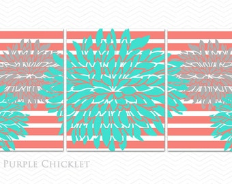 Coral Turquoise Gray Flower Bursts Set of 3 living room wall art Coral Stripes Wall Art Prints Tween Room Decor Set of 3 8x10 Prints 202(ab)