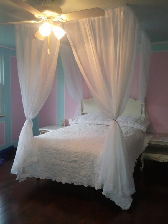 DIY Bed Canopy Kit - Custom Shabby Ceiling Suspended Hanging Four Poster Bed Wire Curtain Rod Chic Privacy Bedroom Decor Princess Crown Tent : bed tent canopy - memphite.com