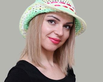 Crochet sun hat, Womens summer hats, Summer cloche hats, Cotton wide brim hat, Sun hat for summer, Cotton ladies hats, Sun hat large brim
