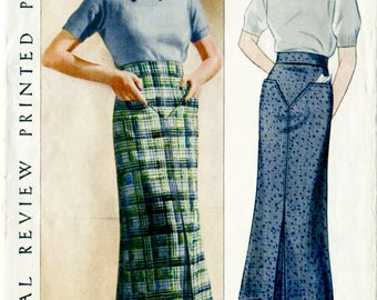 1930s 30s vintage pencil skirt yoke and belt women's sewing pattern waist 26 Pictorial Review 8405 reproduction