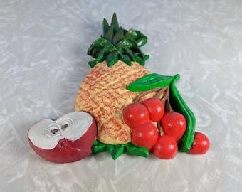 Vintage Chalkware Pineapple, Cherries and Apple Decoration - Retro Wall Decoration - Chalk Fruit, Fruit Kitchen