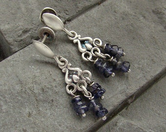 Sterling silver iolite earrings oxidized silver earrings short iolite earrings