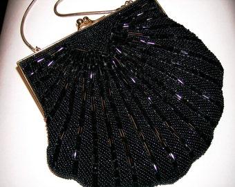 Carolyn Barton Black Seed Bead Formal Handbag Vintage Purse Silk Lining Goldtone Snake Chain Designer Label Vintage Evening Bag Clutch Purse