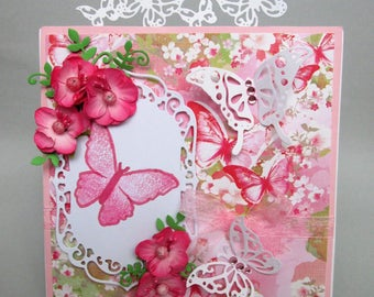 Handmade Birthday Card with Embellishments, Cherry Blossom, Greeting Card, Love Card, Thank You Card, Butterflies and Flowers, Pink Card