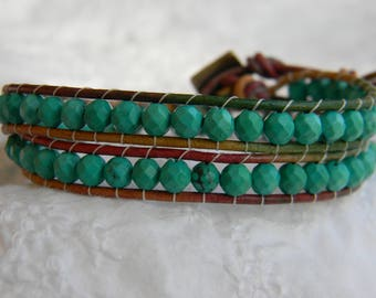 Faceted green turquoise and leather wrap bracelet