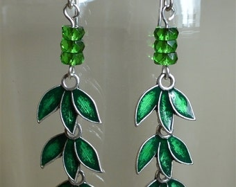 Green Enamel Leaf Earrings