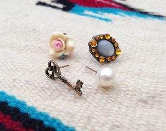 Assorted Stud Earrings Set Key Rhinestone Rose Pearl