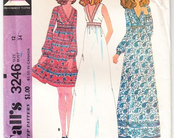 Vintage 1972 McCall's 3246 Sewing Pattern Misses' and Junior's Dress Size 12 Bust 34
