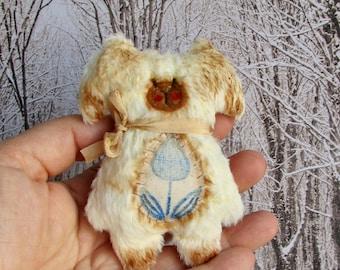 Handmade Mini Flat Teddy Bear Puppy Dog Softie Plush by Woollybuttbears