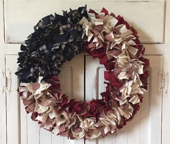 Patriotic Wreath Patriotic Rag Wreath 4th Of July